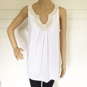 NWT Dana Buchman white embellished sleeveless top